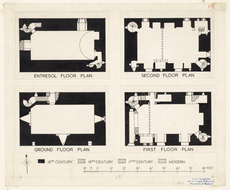 Publication plans of first, second, ground and entresol floors, Newark Castle.