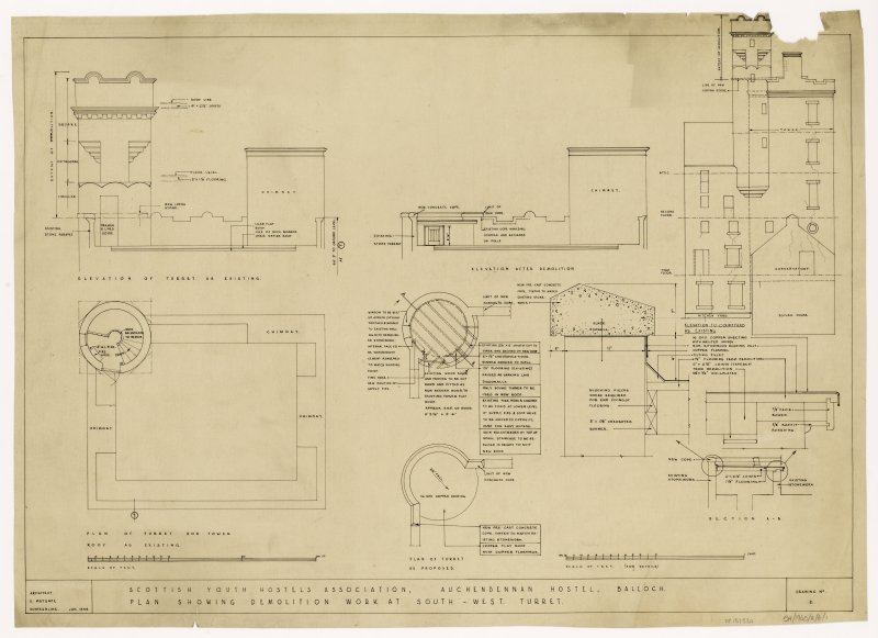 Plan showing demolition work at South West turret.