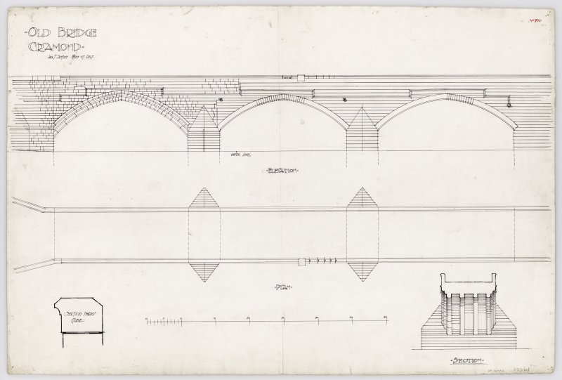 Plan, section, section through cope and South elevation Signed: 'Jas T Sinton'