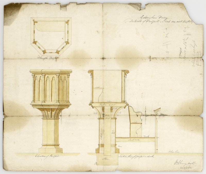 Plan and elevation for new pulpit. Section of ditto and desk in front. Titled: 'Coldingham Priory. Details of Pulpit, Scale one inch to a foot'.