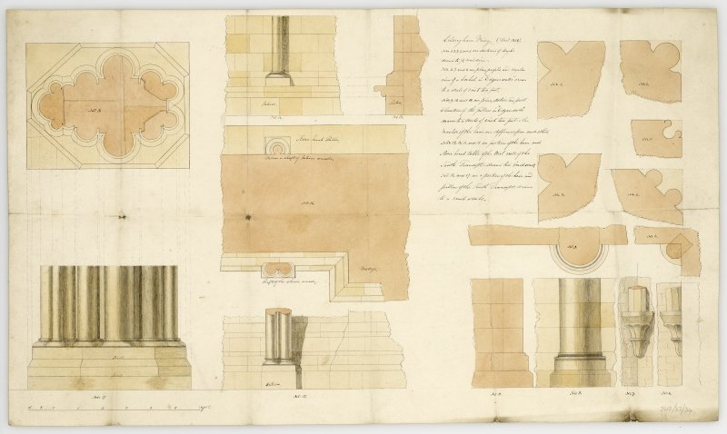 Measured details with identifications, mainly of South transcept including section and elevation of South transcept pier ad parts of South transcept walls here called 'Edgar's Walls' (17 in all). Titled: 'Coldingham Priory (Dec. 1858).'