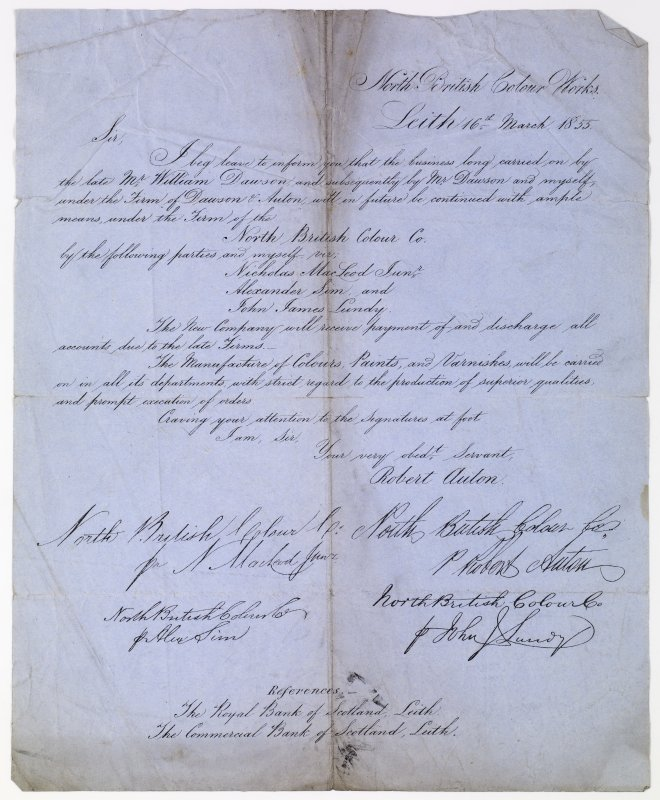 Reverse of drawings of Coldingham Priory is of copy of a letter concerning the overtaking of the North British Colour Works by the North British Colour Co. by Robert Auton. Titled: 'North British Colour Works. Leith, 16th March 1855.'