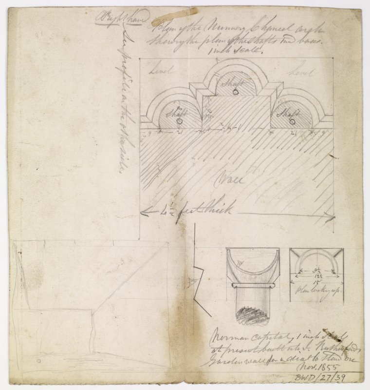 Measured plan of Nunnery chancel arch excavated, 1855 at Coldingham Priory. There is additionally a Section, with elevation of a 'Norman capital built into J. Rutherford's garden wall'.