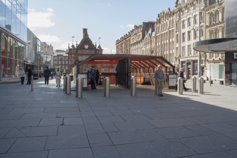 View from north of the glass canopied northern entrance to St Enoch's subway station