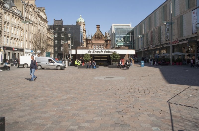 View from the south looking across St Enoch's Square to the entrance of the subway station
