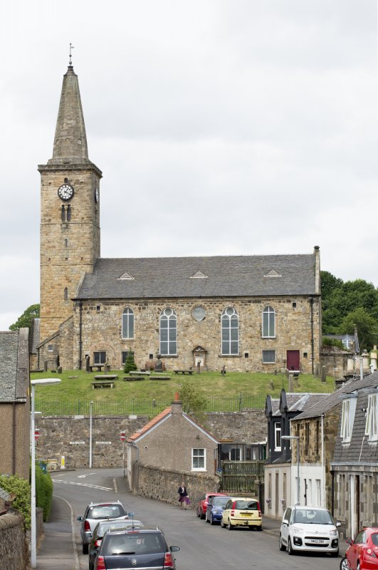 General view of St Drostan's Parish Church, taken from Glass Street to the south.
