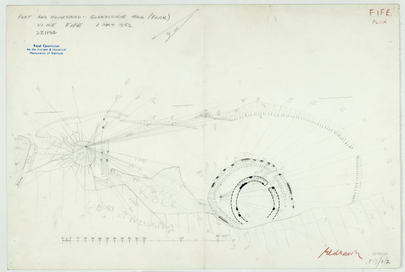 Plane-table survey: fort and homestead at Glenduckie Hill.