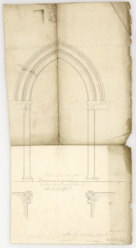 Elevation and plan of 'priests door in North wall' 'now built up'. Titled: 'Interior elevation of the Priests door in North wall of Coldingham Priory (.........) Now built up-.'
