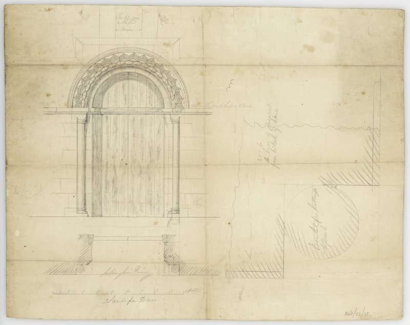 Design for doorway for new porch on South side, elevation and plan and section of jamb of door for Coldingham Priory.