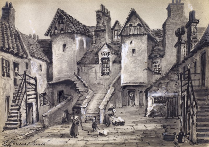 "View of North side of White Horse Close in the Canongate, with date ""1523"" inscribed in gable above small middle window, and women about to hang out washing, Edinburgh. Titled: 'White Horse Close, Canongate.'"