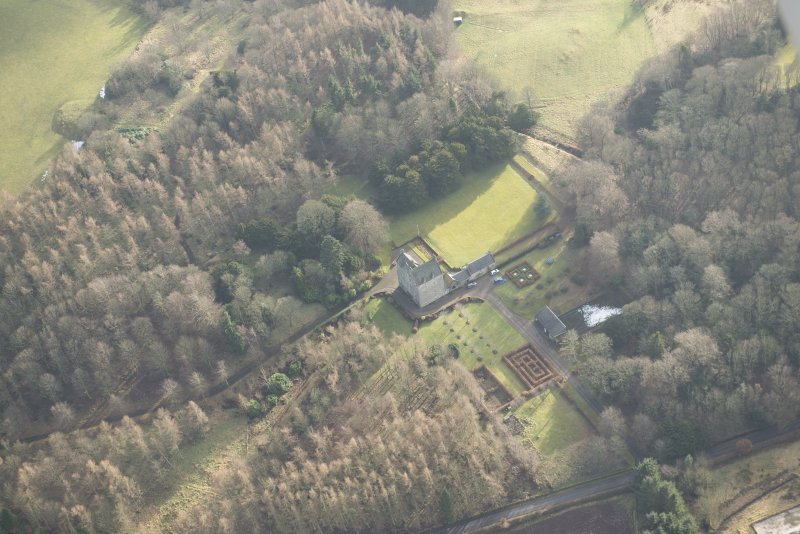 Oblique aerial view of Cleish Castle and gardens, looking S.