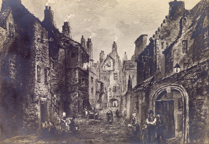 "View of Bakehouse Close and Huntly House in Canongate, with people in period dress in doorways, Edinburgh. Titled: ""Bakehouse Close, Marquis of Huntly's House"""