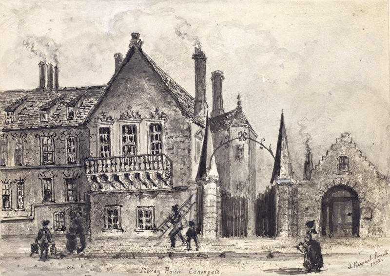 "View of main frontage of Moray House on Canongate, with people in foreground - one carrying ladder, Edinburgh. Titled: ""Moray House. Canongate."""