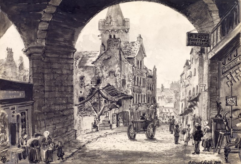 "View of Magdalen Chapel from under George IV Bridge, with people and horse and cart in street, Edinburgh. Titled: ""Cowgate & St Magdalen's Church from below George IV Bridge. Deacon Brodie's House"""