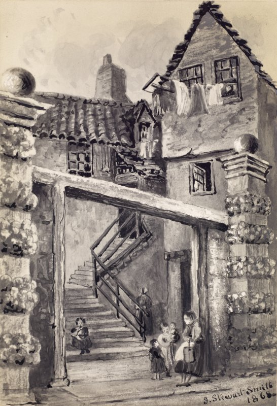 View of Cant's Close in the High Street, Edinburgh. Titled. below: 'Cant's Close, High Street. Entrance to Lord Haliburton's House.'  Titled on verso: 'Exterior of Lord Haliburton's House, Cant's Clos ...