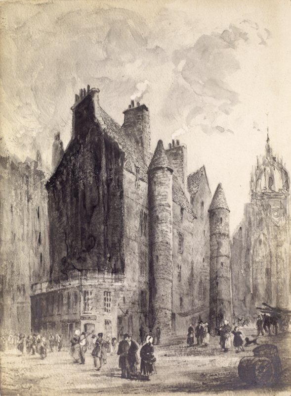 "View of old Tolbooth in the High Street, Edinburgh. Titled:  ""Heart of Midlothian. after Ewebank"""