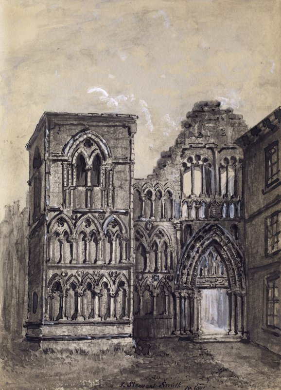 "View of West front of Holyrood Abbey, Edinburgh. Titled: ""Ancient Doorway Holyrood Chapel"""