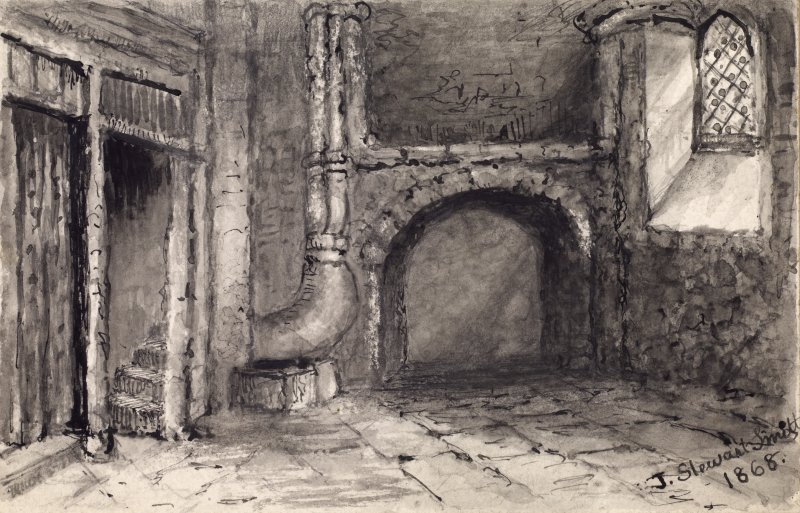 "View of interior of Queen Mary's Bath, Edinburgh. Titled:  ""Interior of Queen Mary's Bath"""