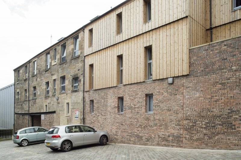 View  of converted brewery buildings in Sugarhouse Close, 160 Canongate, Edinburgh, from NE.