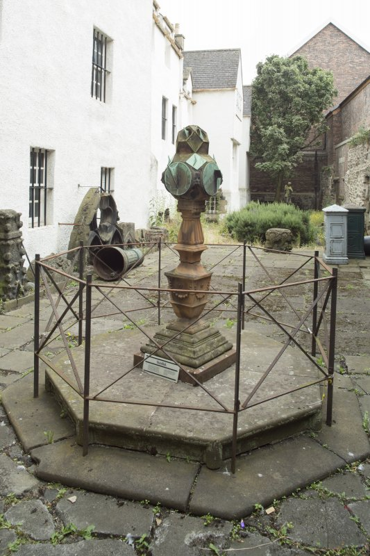 General view of sundial, Huntly House Museum, 146 Canongate, Edinburgh, from N.