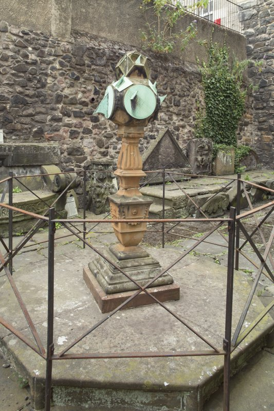General view of sundial, Huntly House Museum, 146 Canongate, Edinburgh, from E.