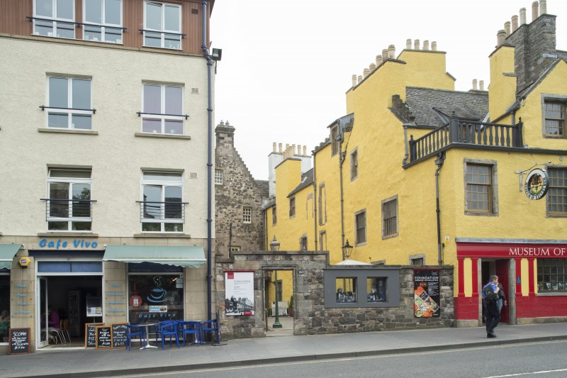 General view of entrance to Slater's Court, Canongate, Edinburgh, from N.