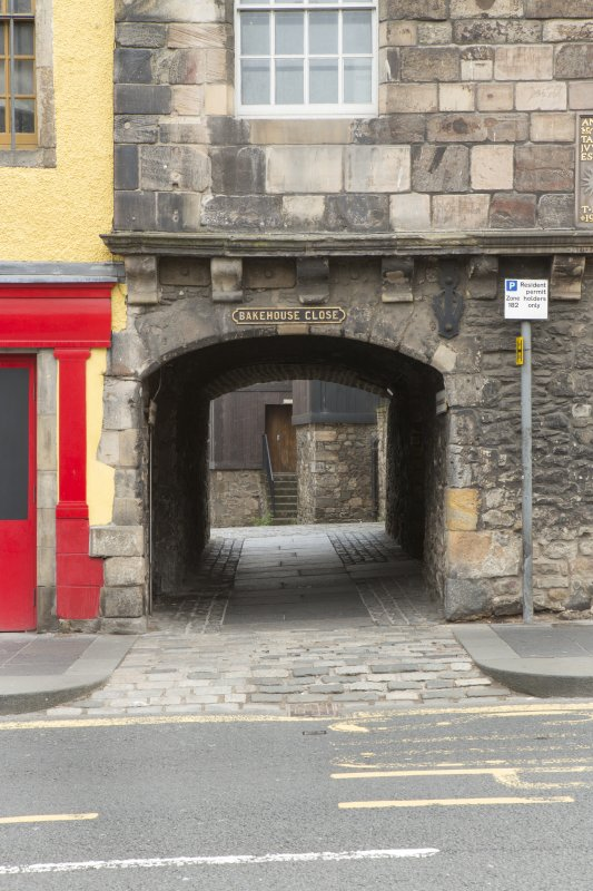 Detail of entrance to Bakehouse Close at Huntly House Museum, 142-146 Canongate, Edinburgh.