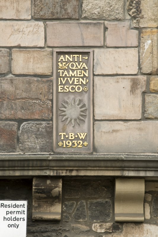 Detail of plaque on front elevation of Huntly House Museum, 142-146 Canongate, Edinburgh.