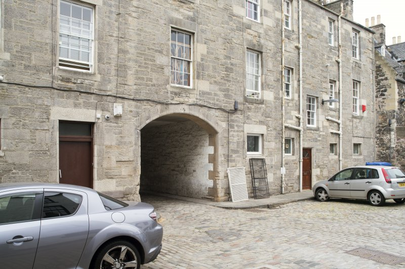 View of arched pend leading from Canongate to Sugarhouse Close, Edinburgh, from SW.