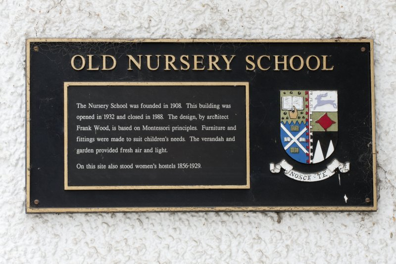 Detail of plaque on front elevation of former Montessori Nursery building, Moray House College of Education, St John's Street, Edinburgh.