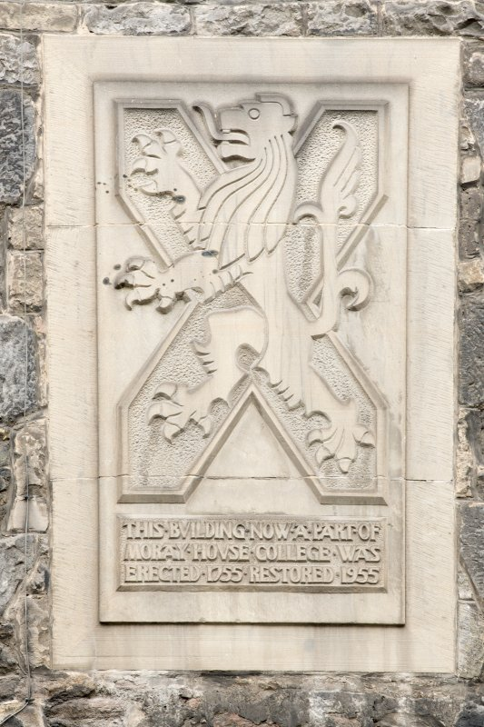 Detail of armorial panel above St John's Close, at 176-182 Canongate, Edinburgh, on Canongate elevation.