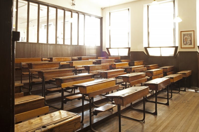 Interior. View of World War Two Classroom.