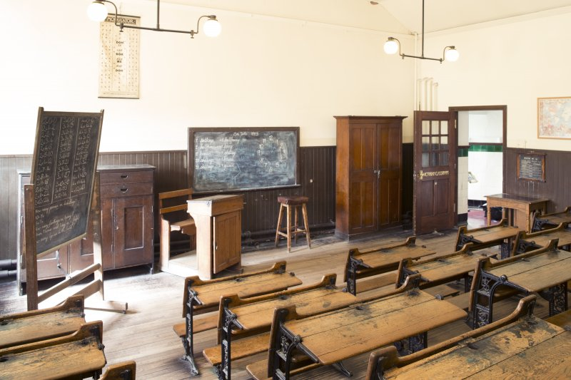 Interior. View of Victorian Classroom.