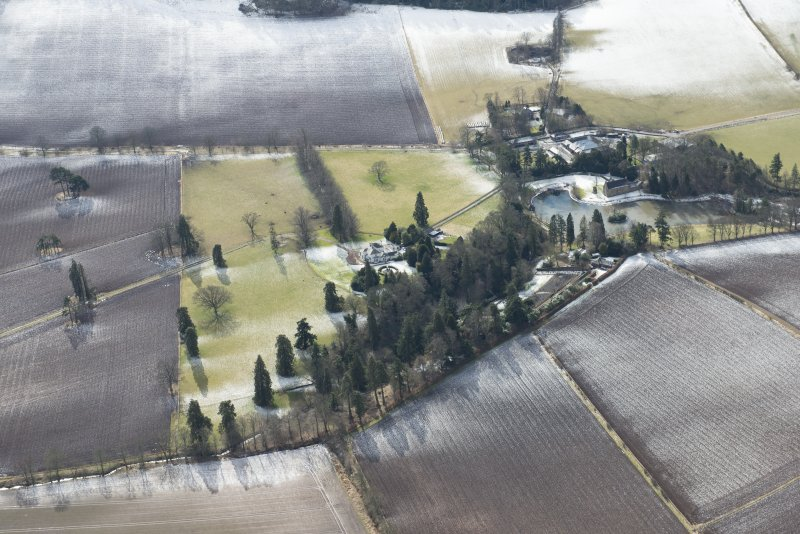 General oblique aerial view of Ecclesiamagirdle House and policies, looking S.