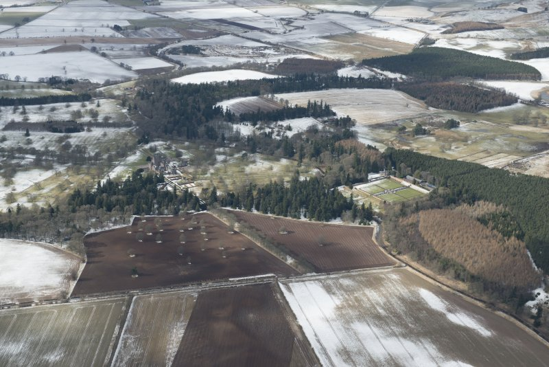 General oblique aerial view of Glamis Castle and park, looking W.
