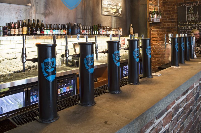 Interior view showing detail of beer taps in Brewdog Bar, Aberdeen