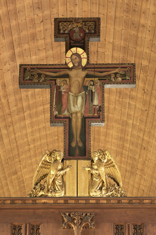 Interior. Church, rood loft, detail of cross with angels