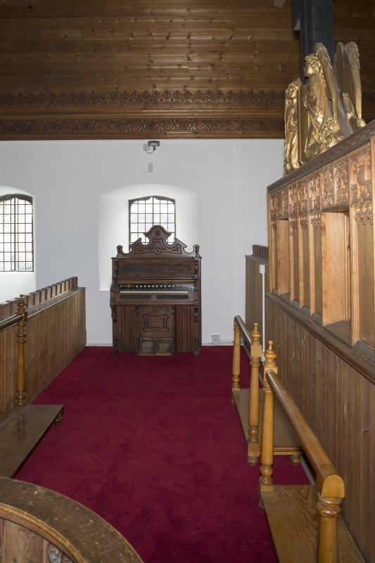 Interior. Church, rood loft, upper level, view from north end
