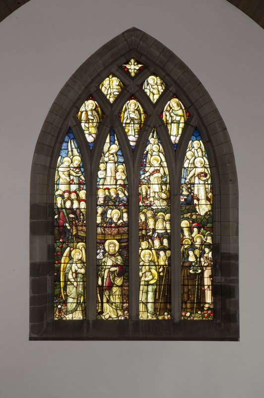Interior. Church, chancel, view of stained glass window