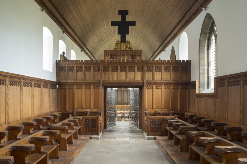 Interior. Church, chancel, view from east towards rood loft with nave beyond