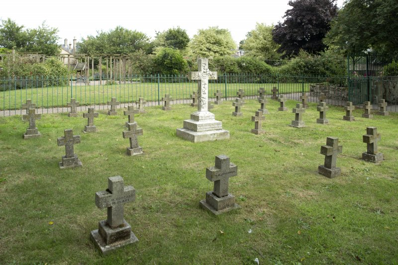 Nuns graveyard at east end of church, view from north west