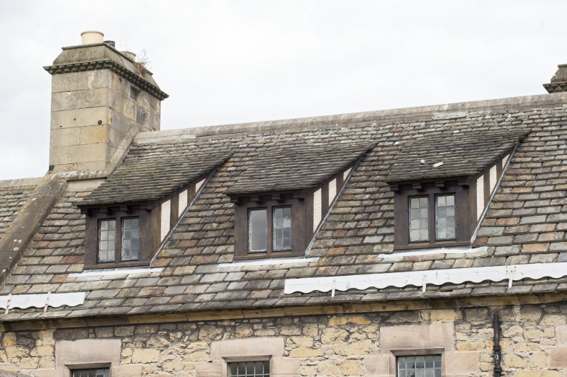 West range, detail of dormer windows