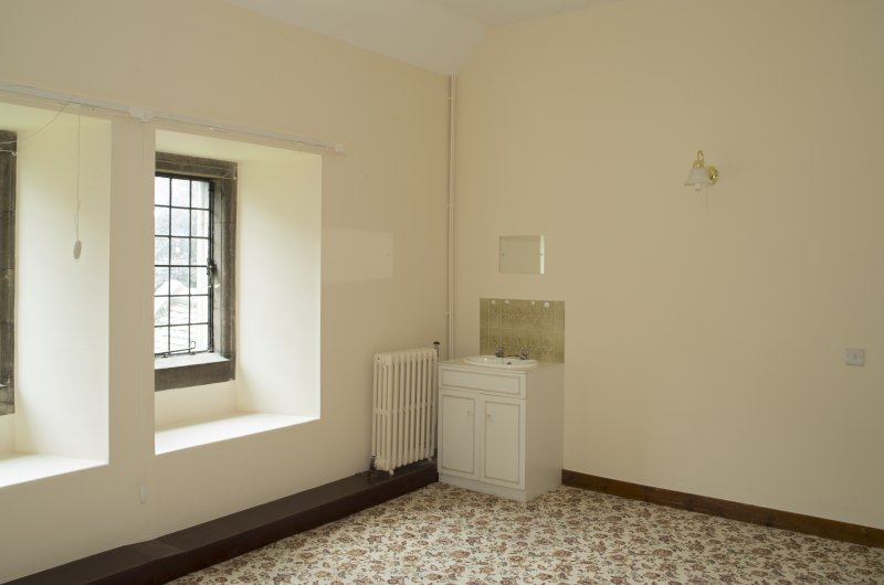 Interior. 1st floor, east range, view of specimen bedroom from north west