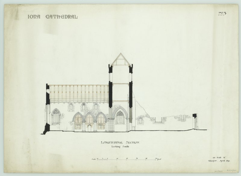Iona, Iona Abbey. Plan of longitudinal section to South.