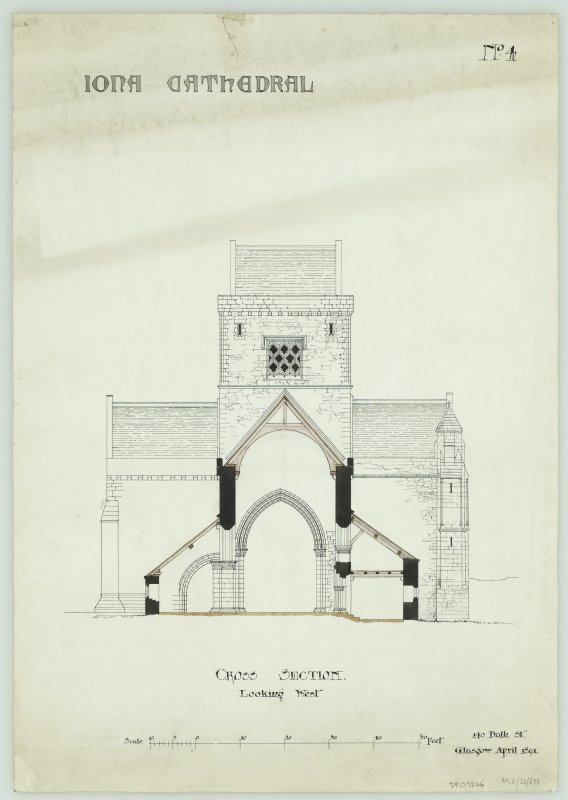 Iona, Iona Abbey. Plan of cross-section looking West.