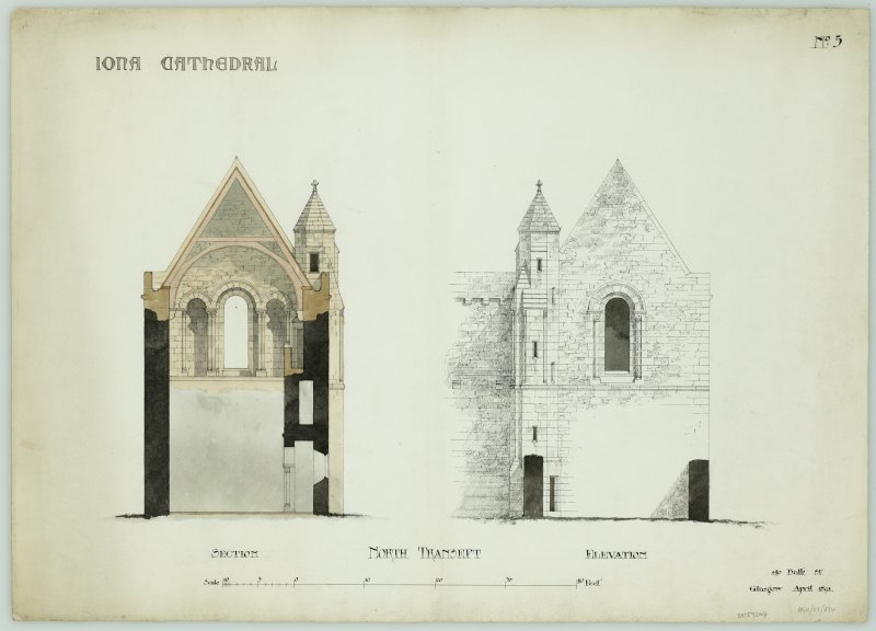 Iona, Iona Abbey. Plan of proposed restoration of North transept.