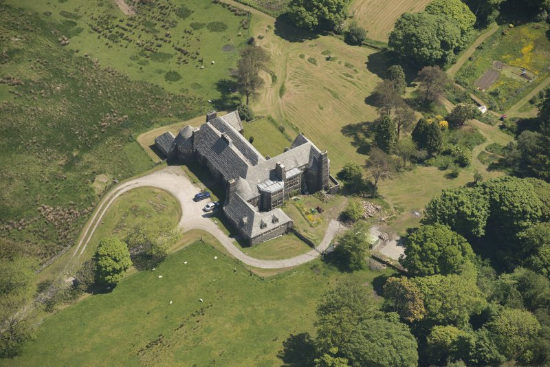 Oblique aerial view of Cour House, looking to the NE.
