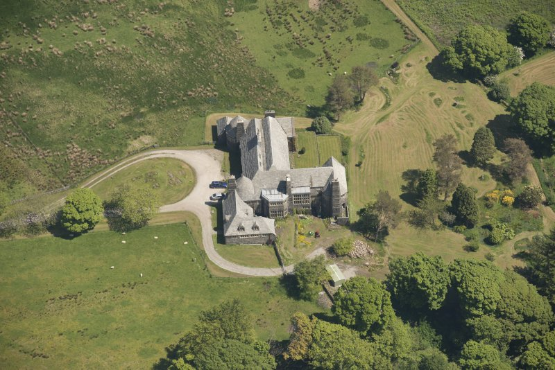 Oblique aerial view of Cour House, looking to the NNE.
