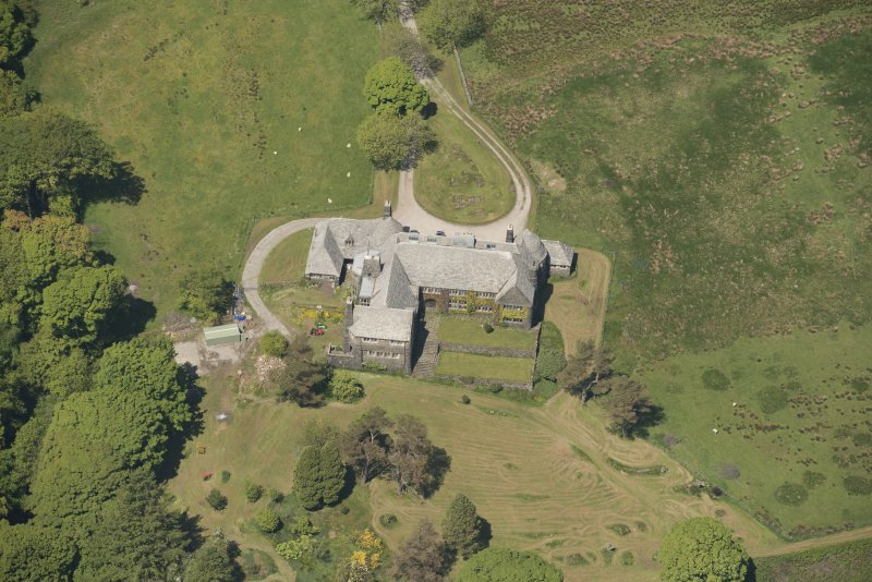 Oblique aerial view of Cour House, looking to the NNW.