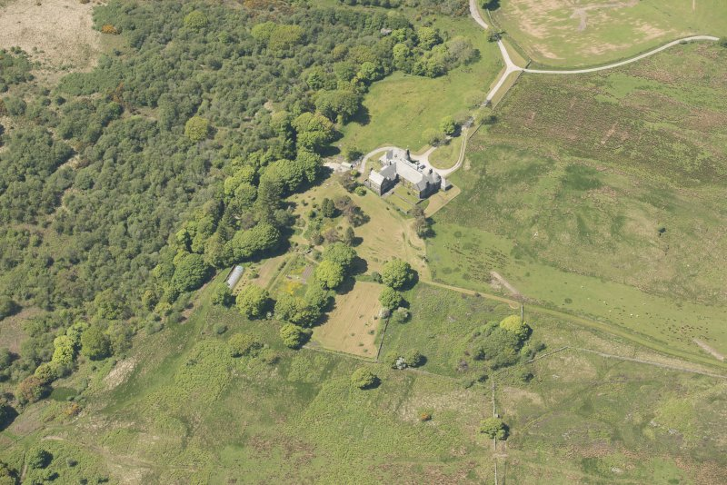 Oblique aerial view of Cour House, looking to the NW.